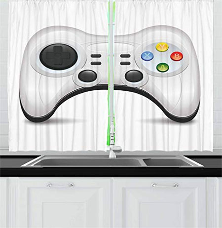 Lunarable Gamer Kitchen Curtains, Modern Gamepad with Colorful Action Buttons