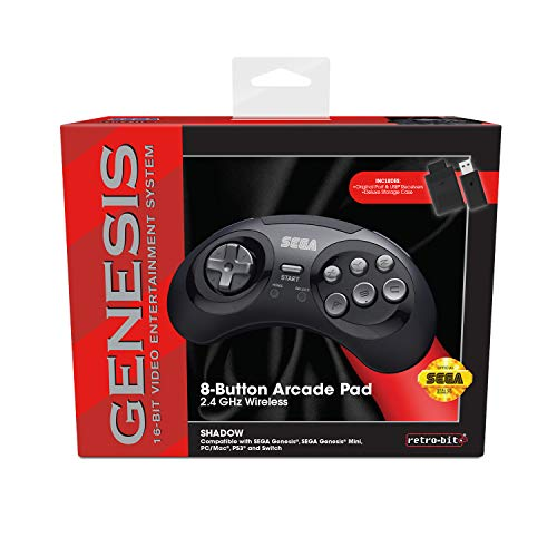 Retro-Bit Sega Genesis 2.4 GHz Wireless Controller 8-Button Arcade Pad