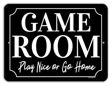 Honey Dew Gifts Game Room Decor, Play Nice or Go Home 9 x 12 inch
