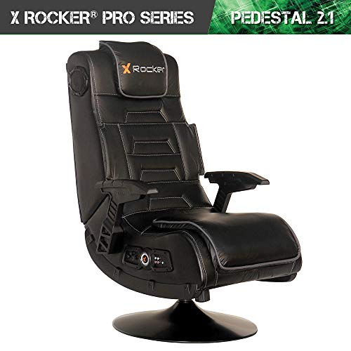 X Rocker Pro Series 2.1 Vibrating Black Leather Foldable Video Gaming Chair with Pedestal Base