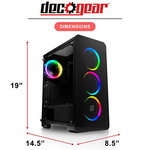 Deco Gear Mid-Tower PC Gaming Computer Case 3-Sided Tempered Glass and LED Lighting