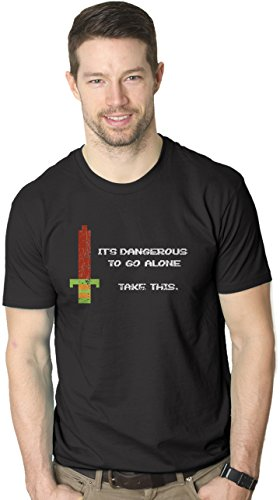 Mens Its Dangerous to Go Alone Take This Funny Nerdy Vintage Video Game T