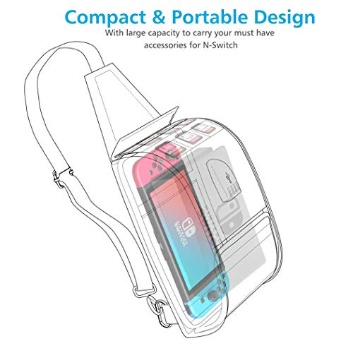 Travel Carry Bag Nintendo Switch/Switch Lite, Sling Backpack w/Type C Charging Port