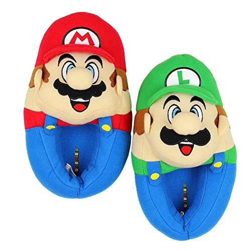 Super Mario Brothers Boys Plush Slippers (Small Fits Shoe Size 11-12