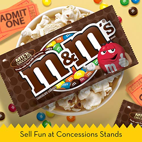 M&M'S Milk Chocolate Candy Singles Size 1.69-Ounce Pouch 36-Count Box