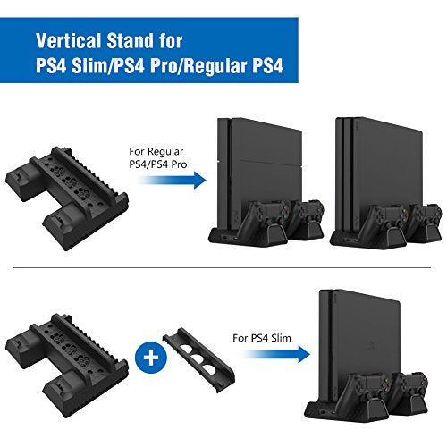 Vertical Stand for PS4 Slim/PS4 Pro/Regular PS4 Controller Charger 3 Cooling Fan