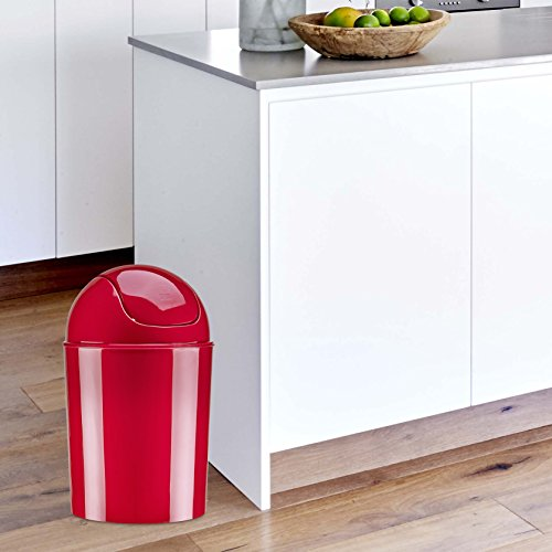 Umbra Mini Waste Can, 1-1/4 Gallon with Swing Lid (Red)