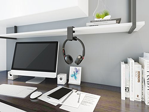 Headphones Stand w/Adjustable & Rotating Arm Clamp Built in Cable Clip Organizer