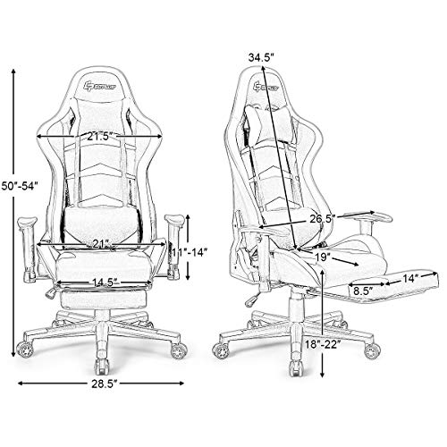 Goplus Massage Gaming Chair, Reclining Backrest Handrails and Seat
