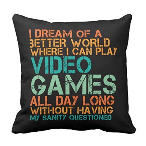 Emvency Throw Pillow Cover Funny Quote for Video Gamesushion Pillowcase