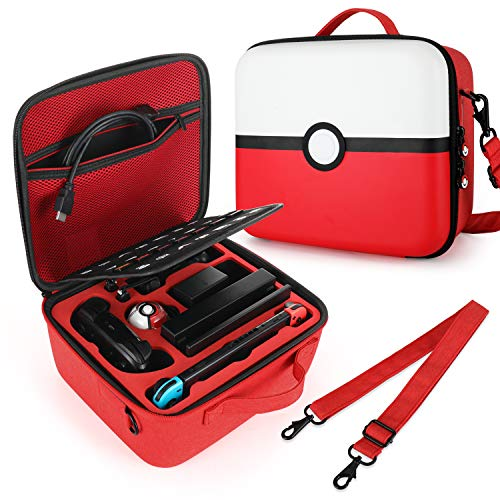 Tombert Nintendo Switch Travel Carrying Case, Pokemon design, Deluxe Protective Hard Shell