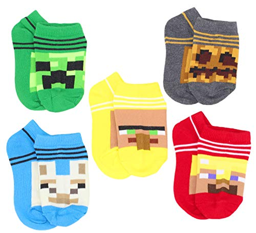 Minecraft Little Boys Character 5-Pack No-Show Socks, 7-10, Multicolor 6