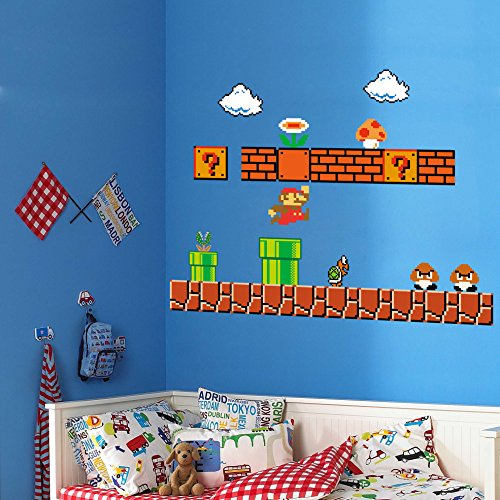 HomeEvolution Giant Super Mario Build a Scene Peel and Stick Wall Decals