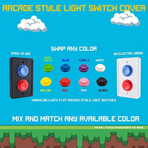 Arcade Light Switch Plate Cover, Single Switch (Black/Red/Blue)