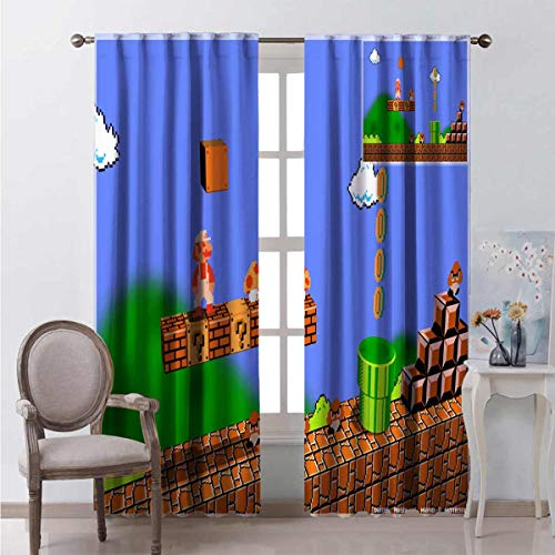 Darlene Harts Super_Mario_Bros_3D_by_Kritter5X Window Curtains 2 Panel 45 Inch Lenght Baby Window Shade for Girl Bedroom 55x45 Inch