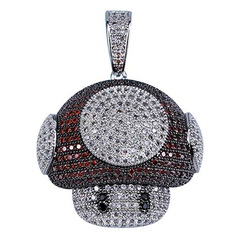 TOPGRILLZ Iced Out Simulated Lab Diamond Super Marie Mellow Mushroom Teddy Bear Pendant