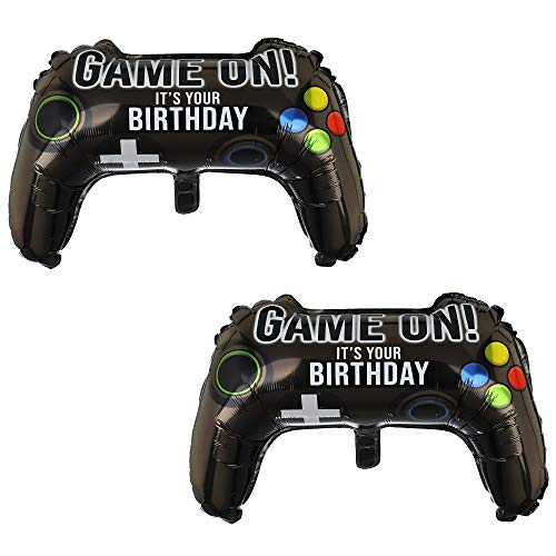 2 Pcs Video Game Controller Mylar Balloon Theme Party Boys Gaming Birthday Decorations