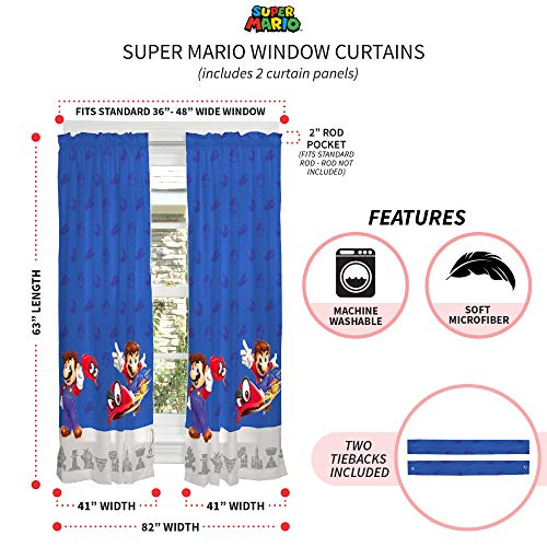 "Franco Kids Room Window Curtain Panels with Tie Backs Drapes Set, 82"" x 63"", Super Mario"