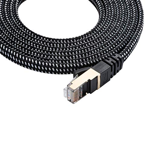 Ethernet Cable, Nylon Braided 66ft High Speed Professional Gold Plated Plug