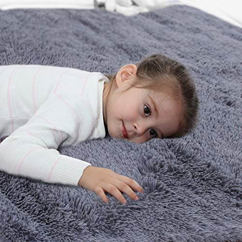 Soft Grey Shaggy Area Rugs for Girls Room Bedroom Non-Slip