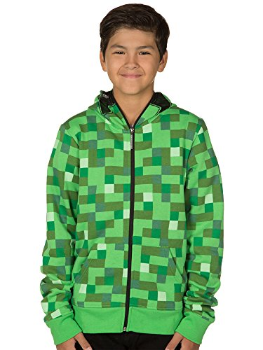 JINX Minecraft Big Boys' Creeper Zip-Up Costume Hoodie, with Mask, Green, Small