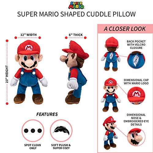 Franco Kids Bedding Super Soft Plush Snuggle Cuddle Pillow, Super Mario