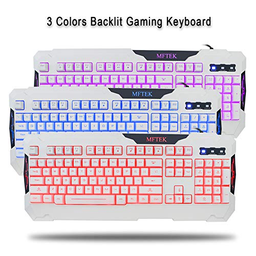 MFTEK White Gaming Keyboard and Mouse Combo, USB Wired 104 Keys Keyboard