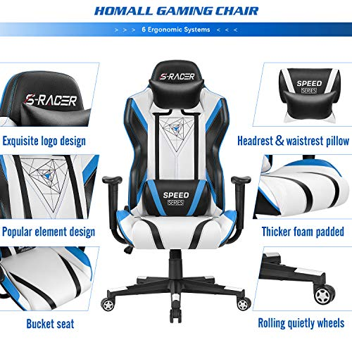 Homall Racing Office High Back PU Leather Computer Desk Video-Game-Chairs, Blue/Black
