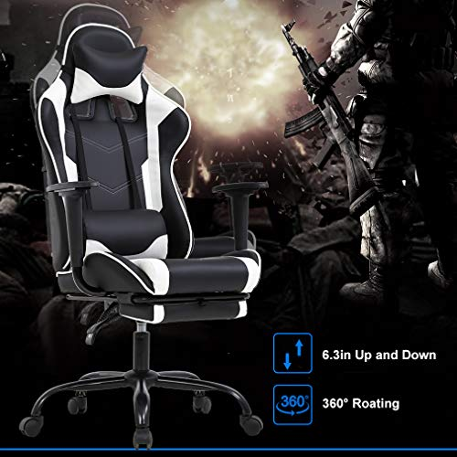 PC Gaming Chair Racing Office Chair Ergonomic Desk Chair Massage PU Leather Recliner