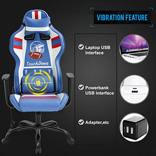 Gaming Chair Massage Office Chair Racing Computer Chair with Lumbar Support Headrest