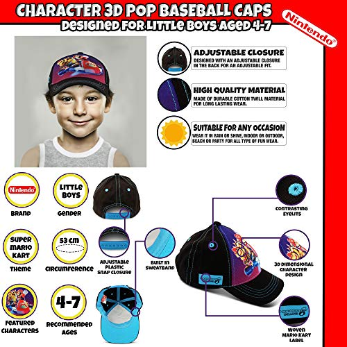 Nintendo Little Boy's 3D Pop Baseball Cap, Featuring Super Mario, Age 4-7