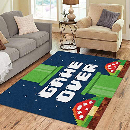 Pinbeam Area Rug Video Pixel Game Over Interface Fungus Colorful
