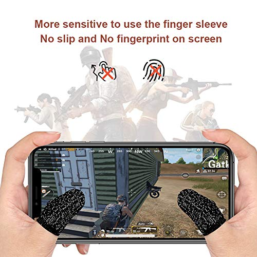 Yaliu 12Pcs Mobile Game Controller Finger Sleeve,Breathable Anti-Sweat Gaming Finger Cot for PUBG/Call of Duty Sensitive Touch Screen Finger Sleeve for Android iSO Phone