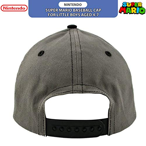 Nintendo Little Boys' Super Mario Character Baseball Cap, Black/Grey, Ages 4-7