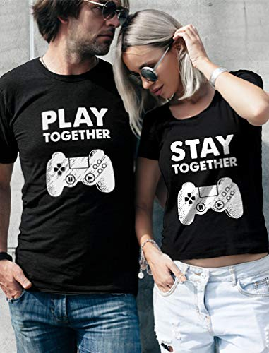 Matching Couples Shirts Play Together Stay Together Funny Gamer Tshirt