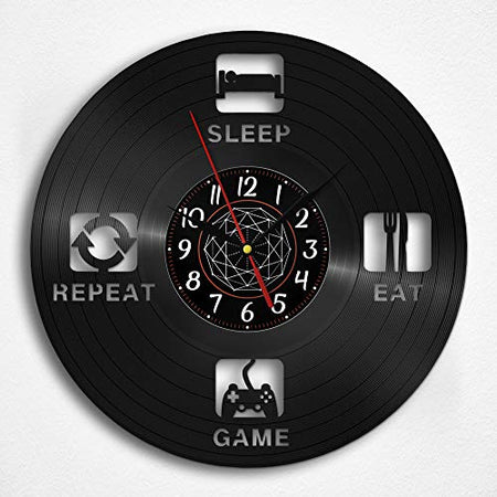OhMyGifs Game Repeat Vinyl Record Wall Clock - Gamer Pc Gifts Accessories