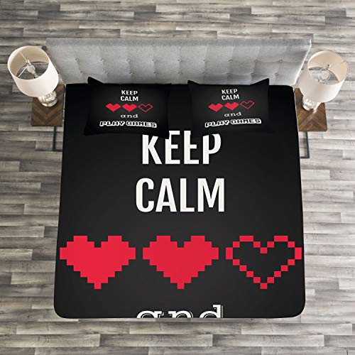 Lunarable Gamer Bedspread Set Queen Size, Motivational Keep Calm Quote