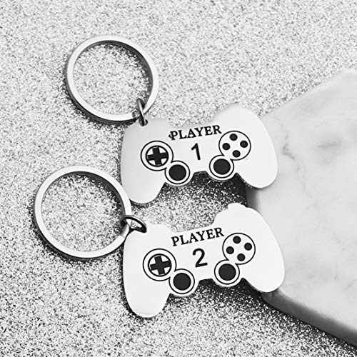 JINGMARUO Gamer Couples Keychain Gift Player 1 Player 2 Keyrings Se