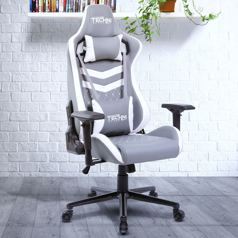 White & Gray GameMaster Series Reclining Gaming Chair