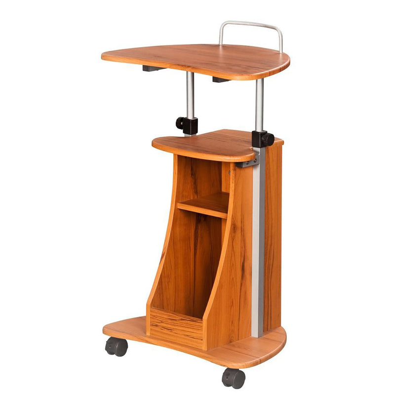 Sit to Stand Rolling Adjustable Height Laptop Cart with Storage at Gaming Girlfriends