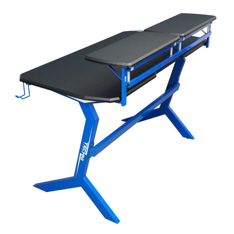Techni Sport Blue Y-Shape Gaming Desk - Stryker at Gaming Girlfriends