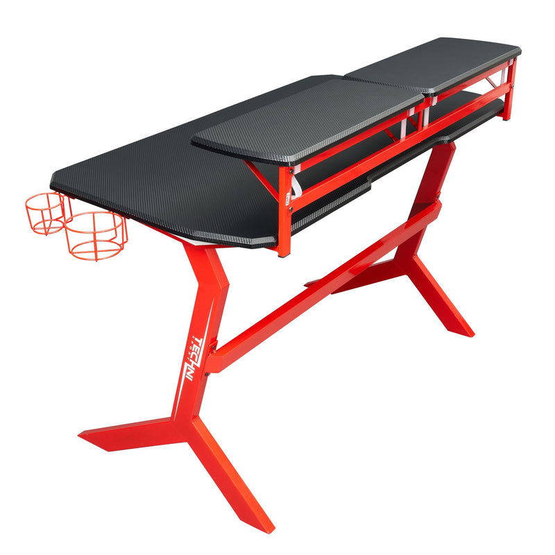 Techni Sport Red Y-Shape Gaming Desk - Stryker at Gaming Girlfriends
