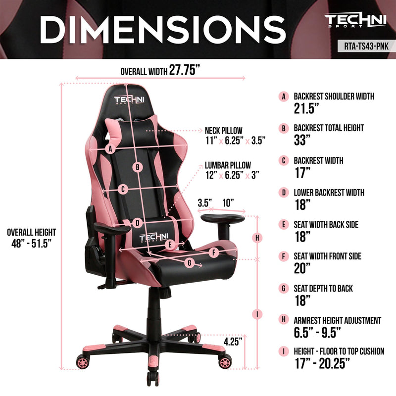 Pink & Black  ProGamer Reclining Gaming Chair