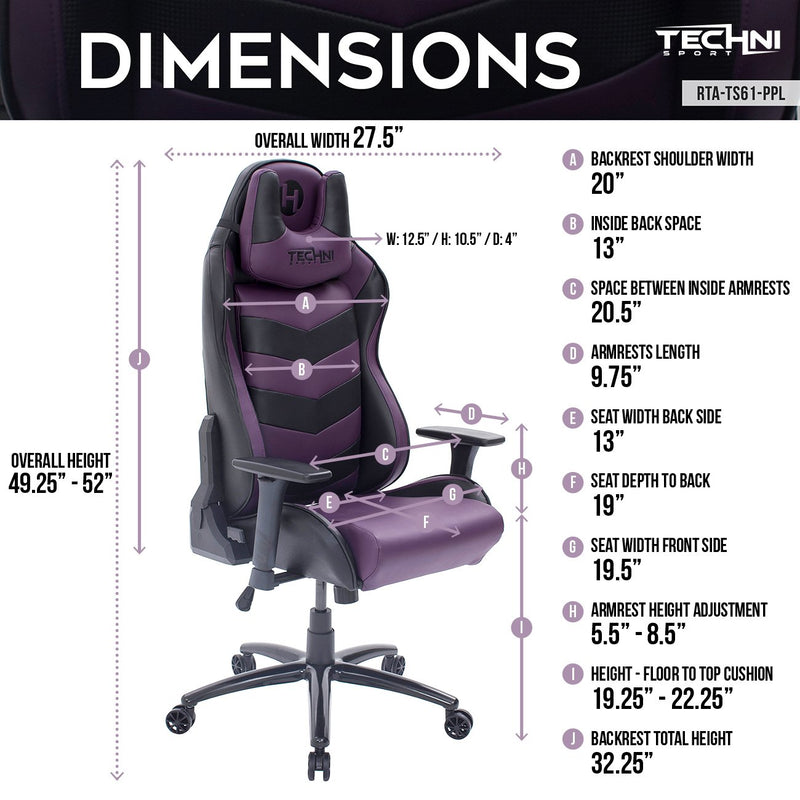TS61 Purple & Black Comfort Plus Reclining Gaming Chair at Gaming Girlfriends