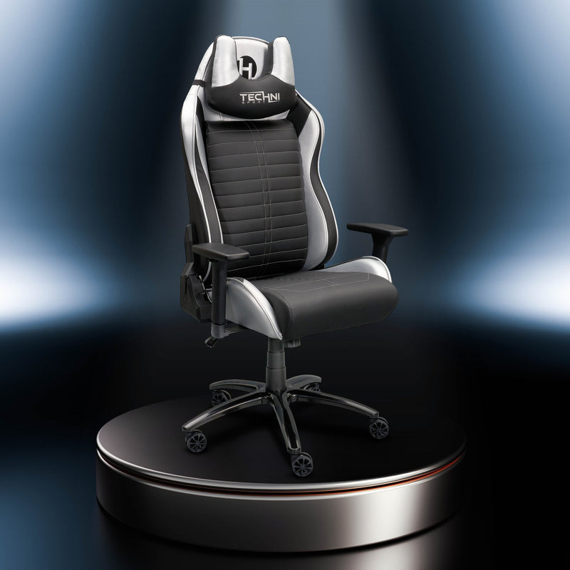 Silver & Black Comfort+ Series Reclining Gaming Chair  at Gaming Girlfriends