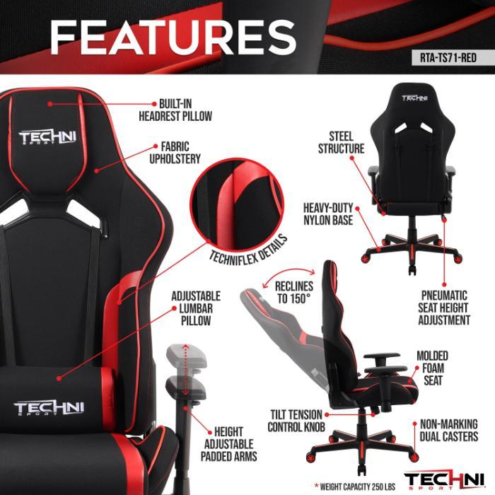 Red & Black Echo Series Gaming Chair w/Neck Pad