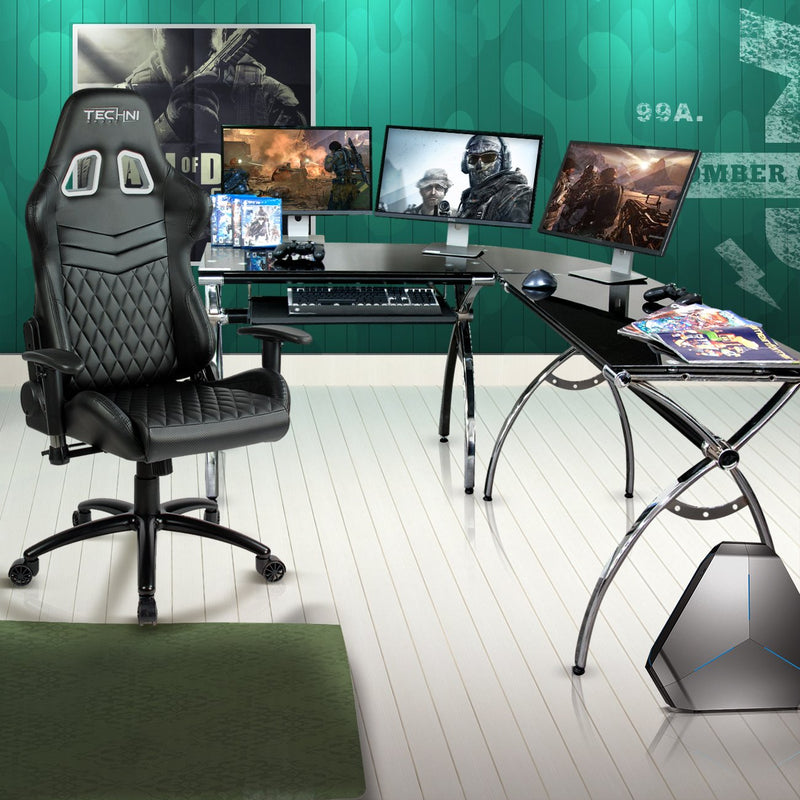 Techni Sport Multi-Monitor Gaming Desk - Luxor at Gaming Girlfriends