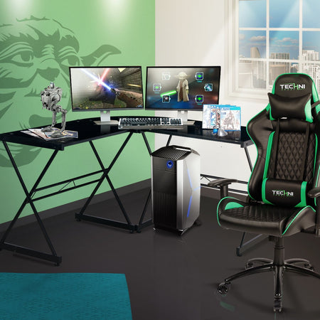 Techni Sport Multi-Monitor Black Gaming Desk - Rigel at Gaming Girlfriends