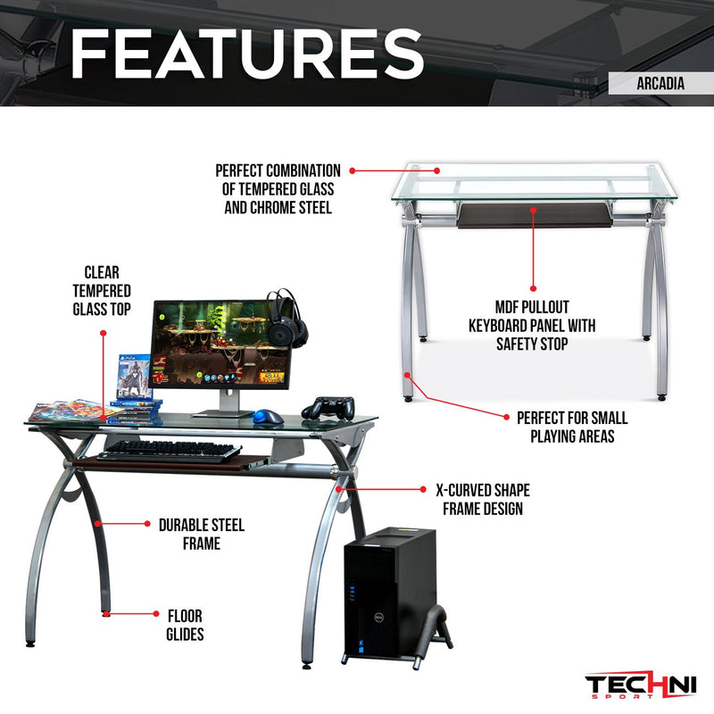 Techni Sport Gaming Desk w/Pullout Keyboard - Arcadia at Gaming Girlfriends