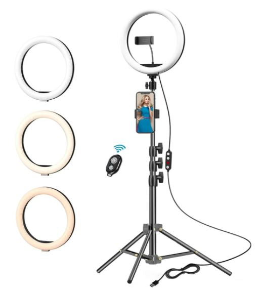 LED Ring Light with Stand & Phone Holder for Live Streaming